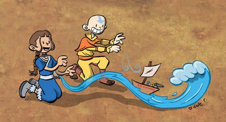 Aang and Katara ship sets sail by yaytime