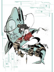 Aqua Nunchucks Print by JimMahfood-FoodOne