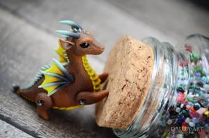 Ball-jointed dragon - brown, yellow, gray, turquoi by dallia-art
