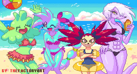 Girls at the beach - pixelart by TheFactoryArt