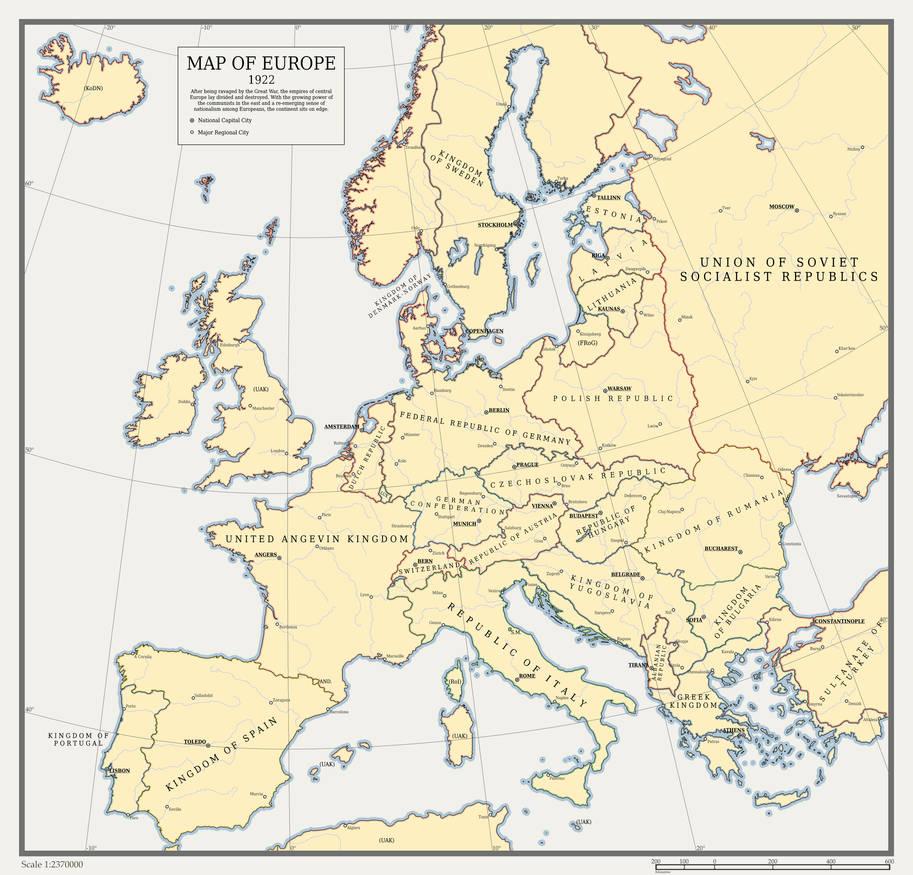 Map Of Europe 1922.Map Of Europe 1922 By Redstonejunkyard On Deviantart