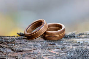 Walnut and Maple rings by mygeekymuse