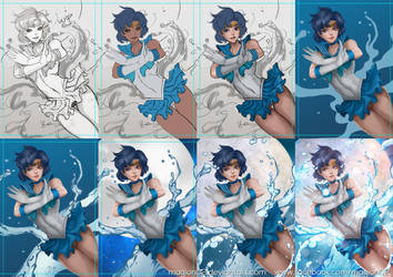 Sailor Mercury progress by magion02