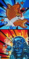 Asian Art Canvases by messymedia