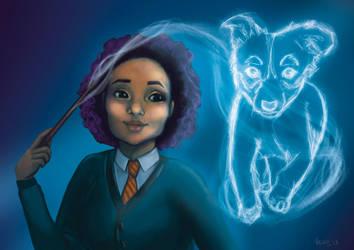Hogwarts witch with Patronus Custom order by Lunatica-Reiko