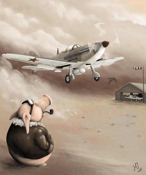 Dusty landing by maketsu