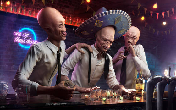 CG CHallenge - Ten  Drunk aliens by RafaelVallaperde