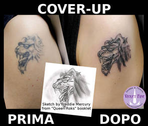 Cover-up Leone Queen Rocks Lion - Adam Raia by Violet-Fire-Tattoo