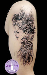 Marmaid tattoo, princess Toyotama-hime - Adam Raia by Violet-Fire-Tattoo