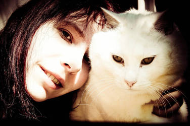 White Cat with Girl by Trickylady