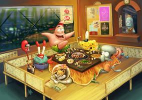 happy spongebob by ijur