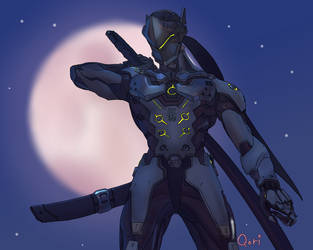 The blade balnces the soul[Genji Overwatch Fanart] by Q-ri-BonBon