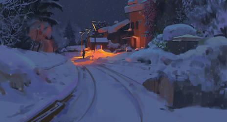 Winter train station by snatti89