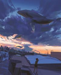 Sky whales by snatti89