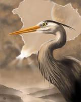 Moon Heron by BrettStebbins