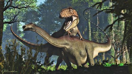 Giganotosaurus, Limaysaurus by PaleoGuy