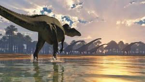 Acrocanthosaurus and Sauroposeidon by PaleoGuy