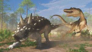 Euoplocephalus and Gorgosaurus by PaleoGuy