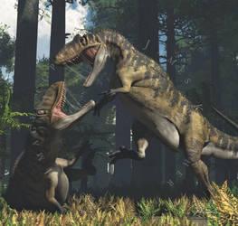 Metriacanthosaurus Pair by PaleoGuy