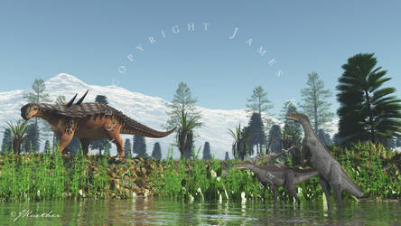 Antarctopelta and Morrosaurus by PaleoGuy