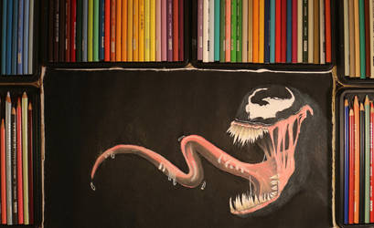 Venom Drawing with Opposite Hand by Kitslam by kitslam