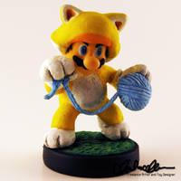 Cat Mario Custom Amiibo by thatg33kgirl
