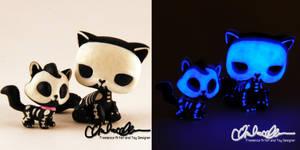 Glow in the dark Skelly Kitties custom LPS by thatg33kgirl