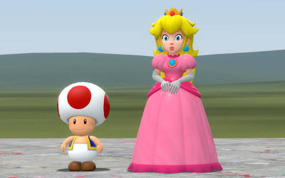 Princess Peach and Toad by CAcartoonfan
