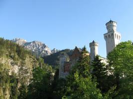 Neuschwanstein castle and Alps by DelphineHaniel