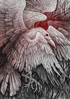 White raven with 9 wings by Alaiaorax