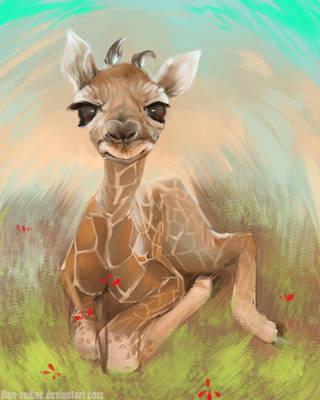 DAILY PAINT :  Baby Giraffe #66 by Dan-zodiac