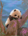 DAILY PAINT : Playful Panda cub #87 by Dan-zodiac