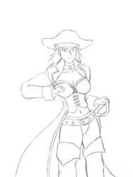 Pirate Captain Rene Sketch by Aisuryuu