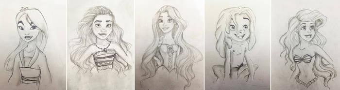 My old traditional hand drawing disney characters by KeroCreations