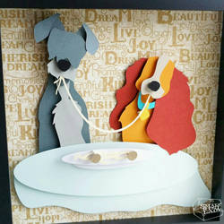 Lady and the Tramp Papercut by smallrinilady
