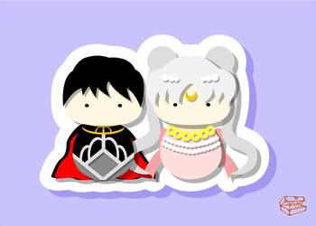 princess serenity and prince endymion Kokeshi by smallrinilady