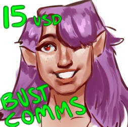15 USD BUST PAINTING COMMISSION!! by ocellifera