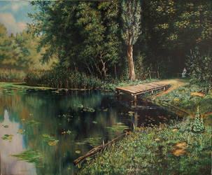 Overgrown pond by Wojciech-Wierzynski