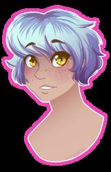 Blue Hair lineless by CrystalCatArt