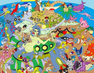 Castaway on Pokemon Island colors flat by BooRat