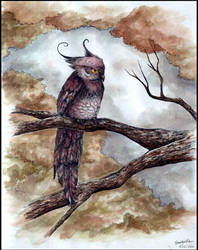 Autumn Owl . Watercolor. by eychanchan