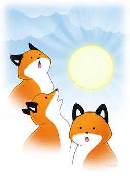 Three Fox Sun by eychanchan