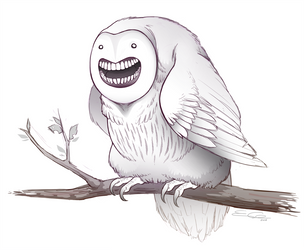 Fat Happy Owl by eychanchan