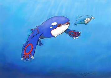 Kyogre hunts a sealeo by MrWeaselMan