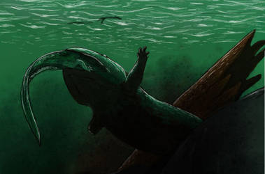 Koolasuchus havin a snack by MrWeaselMan