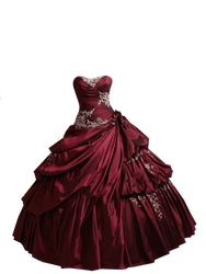 Red Burgundy Ball Gown PNG by Vixen1978