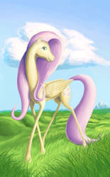 Skinny pale yellow winged horse with a long neck by DorkyDoughnut