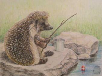 Hedgehog's fishing by Kivuli