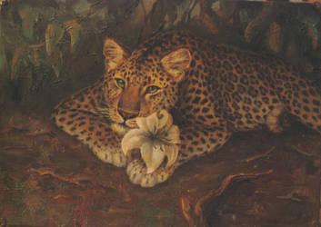 Leopardess with lily by Kivuli