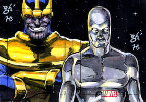 Silver Surfer vs. Thanos by jeh-artist